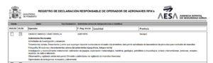 REGISTRO DE DECLARACION RESPONSABLE DE OPERADOR DE AERONAVES RPA's